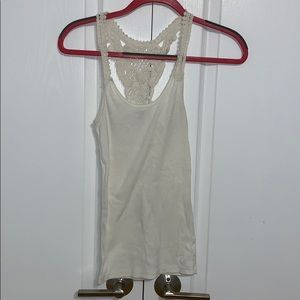 cream tank top with crotchet